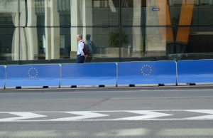 Blue EU concrete barriers