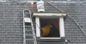 Woman, gas burner, household steps, roof window